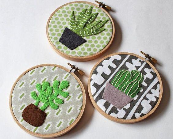 Cactus mur art broderie cerceau décoration cactus plantes succulentes plantes appliqué feutre vert mur décor feuilles des plantes en pot