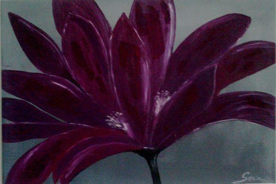 Tableau moderne fleur tableau contemporain fleur mauve for Tableau peinture contemporain