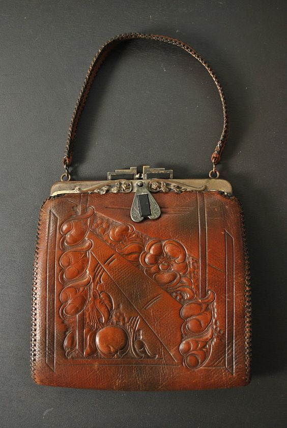 1920s Tooled Leather Purse by LunaMarket on Etsy