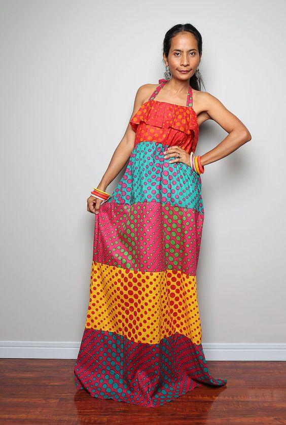 Summer Rainbow Maxi Dress Funky Tiered Dress Bohemian by Nuichan ...
