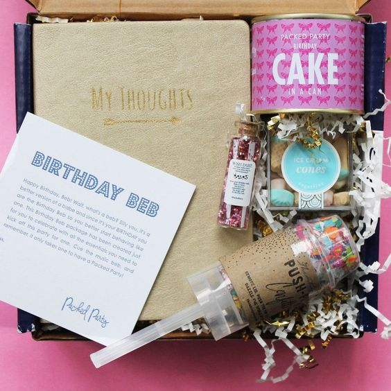 BIRTHDAY BEB PARTY GIFT BOX - An all inclusive party in a box that makes the perfect gift to give to your bestie. Thimblepress confetti pop, gold notebook, cake in a can and sugarfina gummies are all included in this gift.  Sold by Bonjour Fete - A party supply boutique in Studio City, California