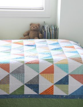 To the Point Boys Quilt #quilt #triangle #boys #orange #blue #grey #lime