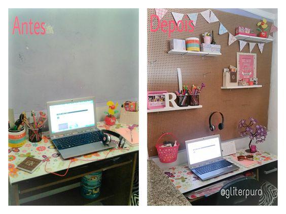Antes e depois de uma parede com peg board/ painel perfurado. <3 No blog