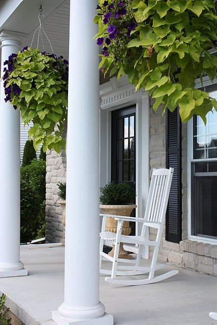 Rocking chairs vines and hanging pots on pinterest for Front porch hanging plants