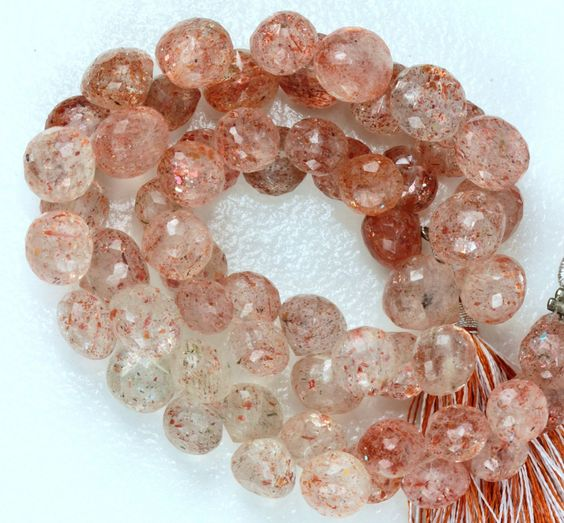 Sunstone Briolettes, AAA Onion Briolettes(candy kisses) RARE shape,  Set of 14 Stones 8.5mm x  7.75mm  Copper KJ by SweetCarolineGems on Etsy