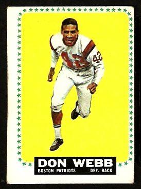 eBlueJay: BOSTON PATRIOTS DON WEBB 1964 TOPPS # 20 EX OC AFL AMERICAN FOOTBALL LEAGUE. cheepseetz