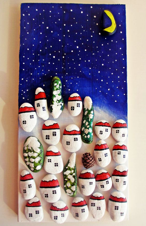 Pebble art Christmas decoration Rocks art Unique от AdriArtistic: