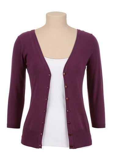 3/4 sleeve v-neck cardigan (original price, $29) available at #Maurices
