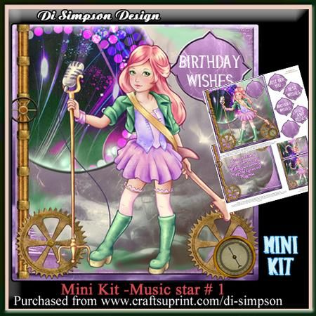 Mini Kit Musical Star 1 on Craftsuprint - Add To Basket!