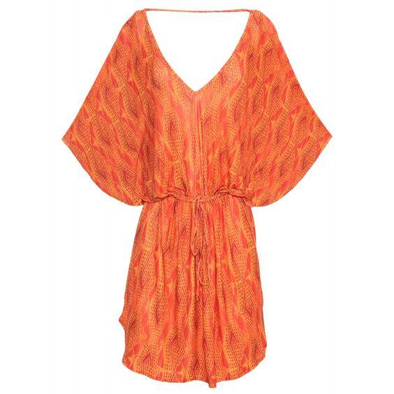 Caftan de malha fria, decote V, com amarração na cintura e decote nas costas. VIX - Saída de praia Menfis - laranja R$ 468,00