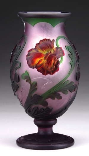 Glass Vase by Eugène Michel with padded and heavily wheel-carved poppy flowers