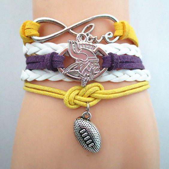 Infinity Love NFL Minnesota Vikings 2016 Football Bracelet BOGO