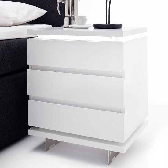 Matis Bedside Cabinet In White Gloss With 3 Drawers And Led Bedside Cabinet Modern White Bed Wood Bedroom Sets