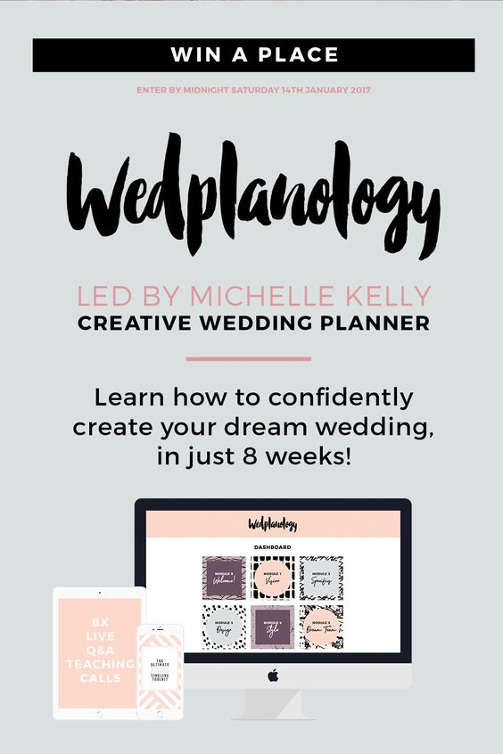 Learn how to confidently create your dream wedding from expert wedding planner Michelle Kelly in 8-week online course Wedplanology