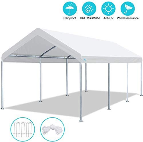 Chic Advance Outdoor 10 X 20 Ft Heavy Duty Carport Car Canopy Garage Shelter Party Tent Adjustable Height From 6ft To 7 5ft Whi In 2020 Car Canopy Party Tent Carport
