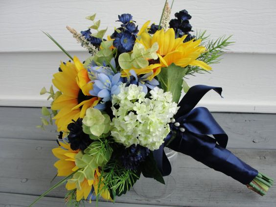 Bride Bouquet yellow and blue with sunflowers  by WaterHouseFloral, $70.00