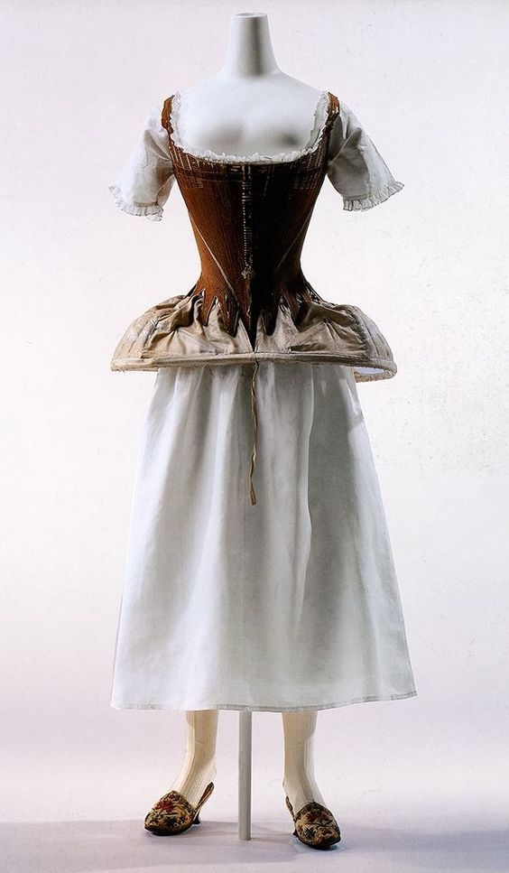 Pannier, corset,and chemise, 18th century.