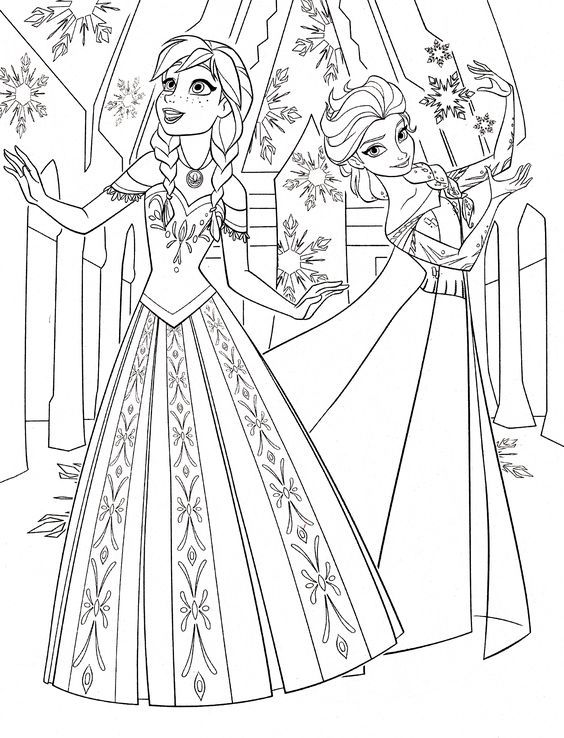 pages of anna & elsa frozen walt disney princess characters | Coloring ...