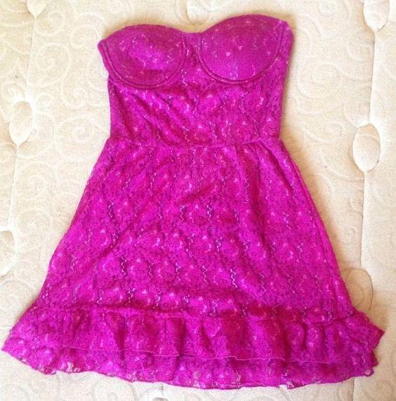 CHARLOTTE RUSSE Women's Hot Pink Lace & Ruffle Corset Mini Dress - Size 0 #CharlotteRusse #Corset