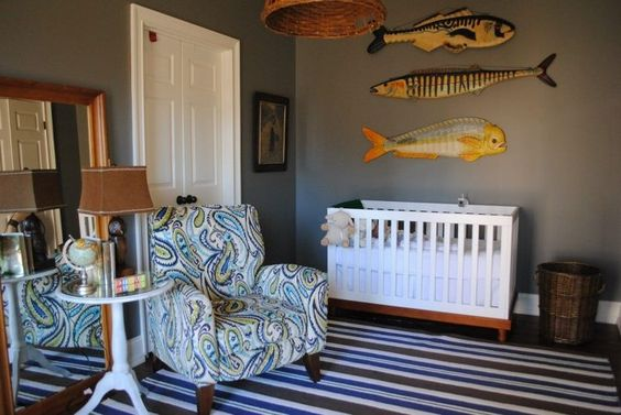 Love how Brittany incorporates grown-up chic into her boys' rooms.  Still looking for one of these chairs for the beach!