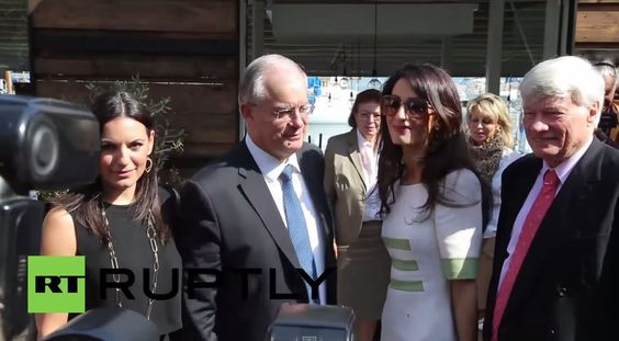 Amal Alamuddin stops by Athens restaurant. Watch: http://youtu.be/x7GsaT3OIL8