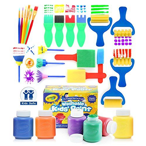 Glokers Early Learning Kids Paint Set 28 Piece Mini Flower Sponge