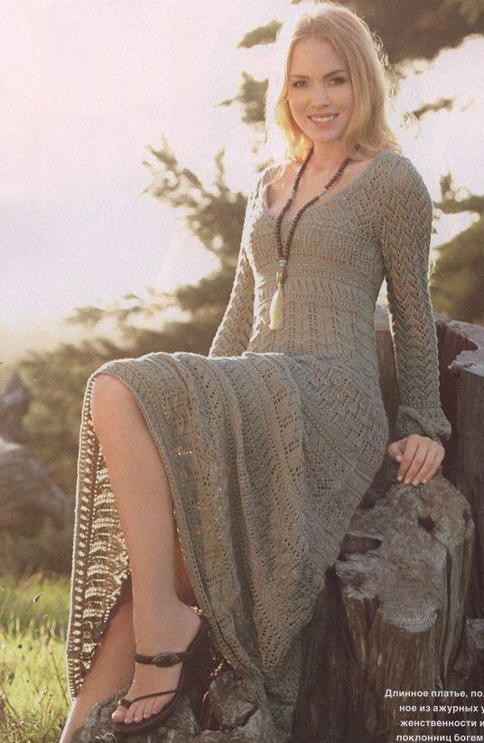 Платье вязаное спицами серое длинное