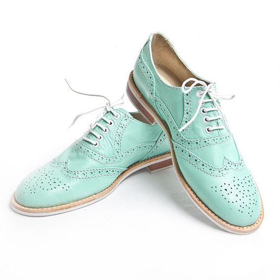mint oxford brigue shoes  FREE WORLDWIDE SHIPPING by goodbyefolk,