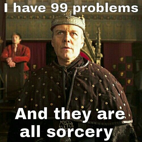 """BAHAHAHAHAHA!!!!!!!!!! I understand why he hates sorcery, but he takes it too far... To quote Dolma (:P), """"There is no evil in sorcery, only in the hearts of men."""""""