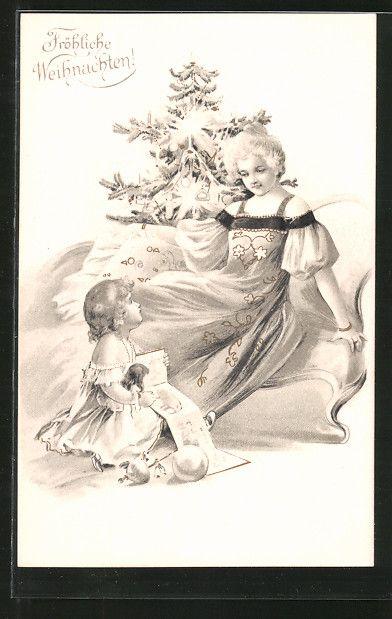 cartolina antiche: AK Fröhliche Weihnachten! Kinder in festlichen Kleidern am Tannenbaum