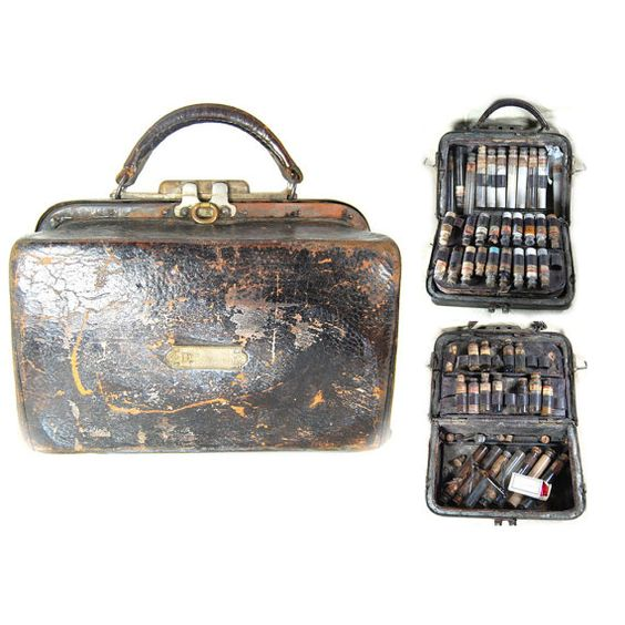 Antique Victorian Era Fully Stocked Doctors Travel Apothecary Medicine Case Bag Syringes Glass Vials Bottles OVER 50 ACCESSORIES c1865. $395.00, via Etsy.