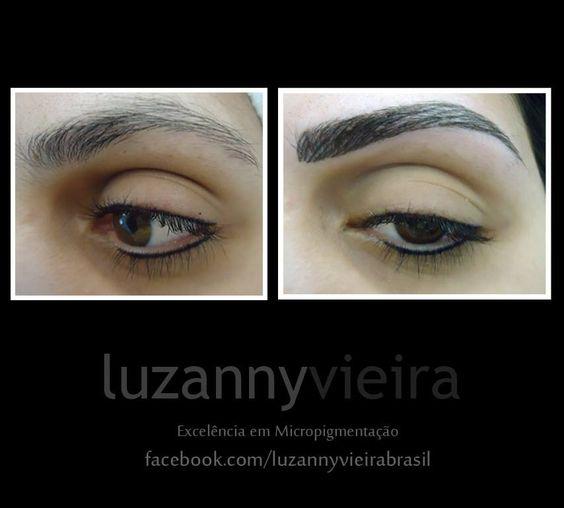 Antes e depois de um procedimento de micropigmentação. By Luzanny Vieira