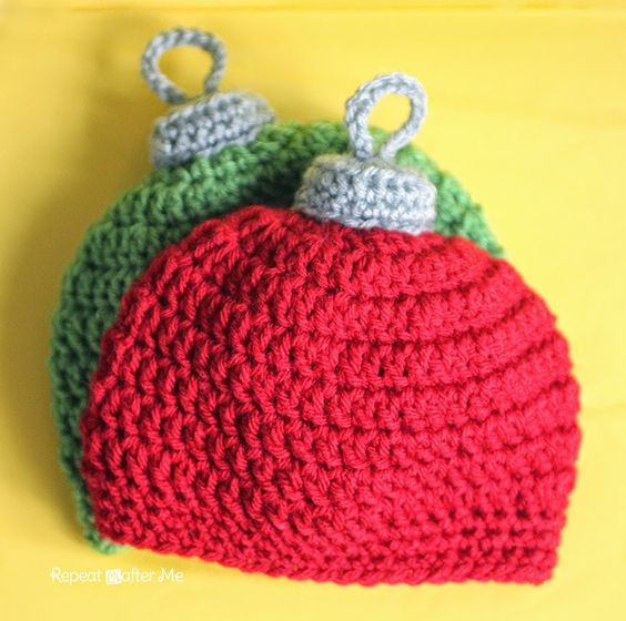 Repeat Crafter Me: Crochet Christmas Ornament Hat Pattern...lots of sizes!!