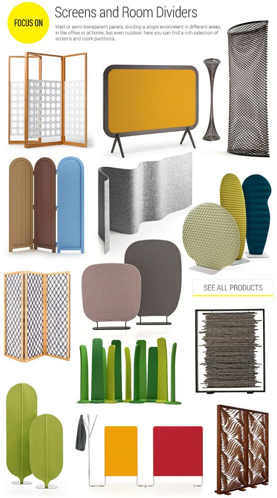 Screens and room dividers. Matt or semi-transparent, dividing a single environment in different areas, in the office or at home, but even outdoor: here you can find a rich selection of screens and room partitions.