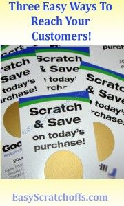 Three easy ways to increase sales using scratch off stickers from www.EasyScratchoffs.com: