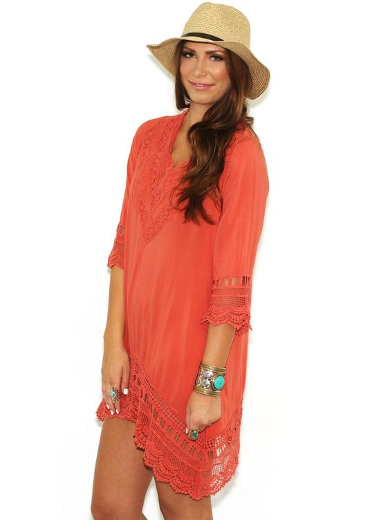 West Coast Wardrobe Morning Memories 3/4 Sleeve V-neck Tunic/Dress in Orange