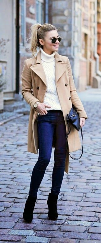 Casual Camel Coat , Cream Knit Sweater and Dark Jeans, Black Crossbody, Black Ankle Boots, Sunglasses, Gold Michael Kors Watch: