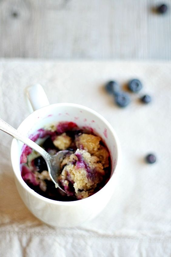 20 Easy Breakfast Mug Recipes For Lazy Morning-Blueberry Muffin in a Mug #Recipe, #Breakfast