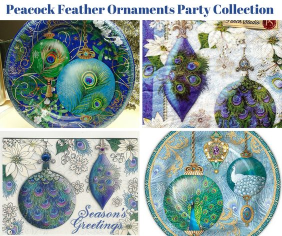 Peacock Feather Ornaments Party Banner