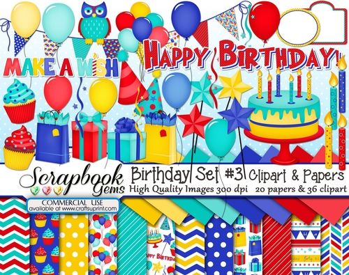 Birthday Set 3 Clipart Papers Kit 36 Clipart 20 Papers By