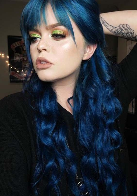 55 Lovely Long Blue Hair Color Ideas With Front Bangs 2018 Long