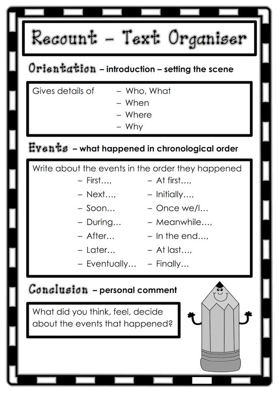 Text organizer for recount writing. Classroom Treasures: Recount Writing
