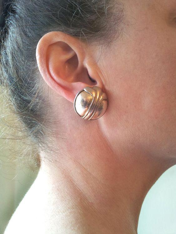Vintage Nina Ricci Clip On Earrings Chunky Elegant by KAblackburn