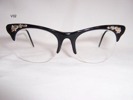 Vintage 1940/50s Gold filled and black acetate ladies spectacle frame- Vintage Glasses - Vintage spectacles - Dead Men's Spex