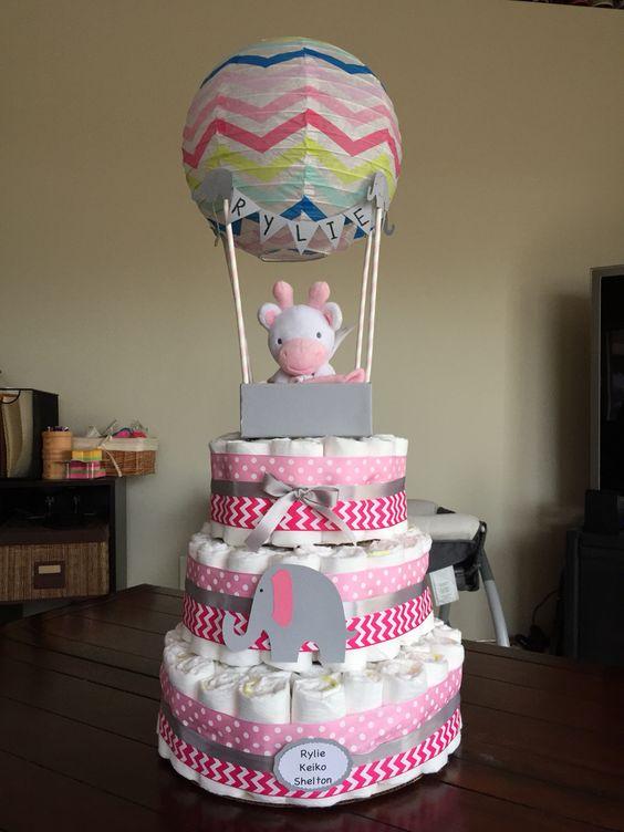 hot air balloon diaper cake diaper cakes pinterest air balloon cakes and diaper cakes. Black Bedroom Furniture Sets. Home Design Ideas
