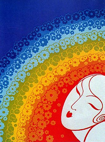 Rainbow in blossom by Erté