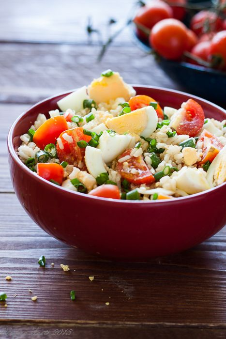 delicious! rice with tomatoes, hard boiled egg and chives. simple and amazing.