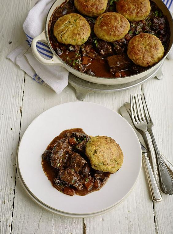 Steak and Mushroom Cobbler Pie from the One Pot Wonders cookbook. This delicious winter main course meal is a luxurious take on the traditional British beef casserole. http://thehappyfoodie.co.uk/recipes/steak-and-mushroom-cobbler-pie