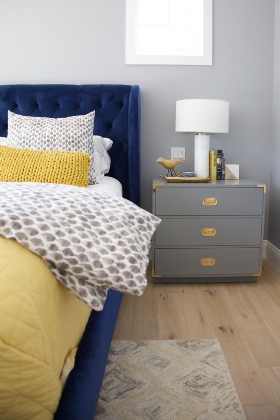 Pin By Katy On Home Blue Bedroom Decor Grey And Gold Bedroom Blue And Gold Bedroom