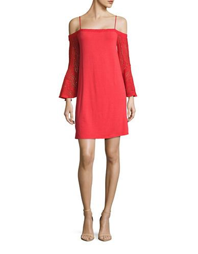 Ella Moss Lace-Accented Cold-Shoulder Shift Dress Women's Tango Red X-